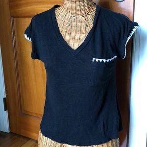 Black V neck shirt with pocket size xs